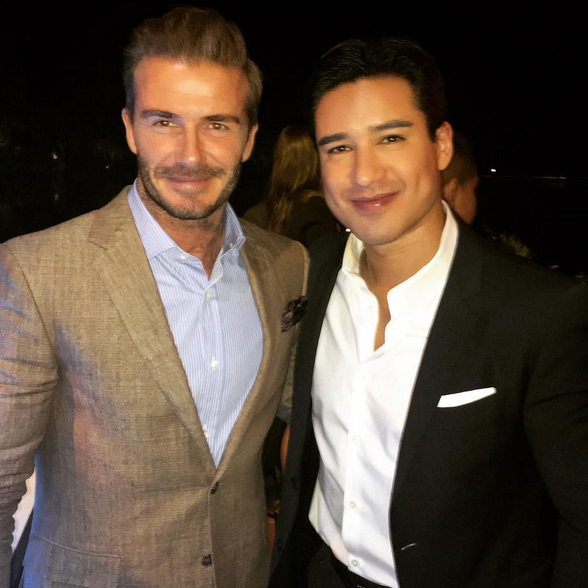 David Beckham and Mario Lopez posed together.