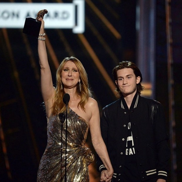 Celine was brought to tears as soon as she saw her son step on stage.