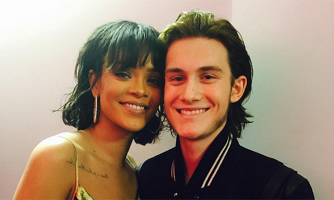 René-Charles Angélil meets Rihanna backstage at the ...