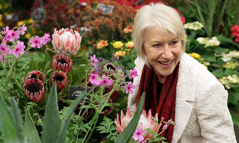 Dame Helen Mirren, an ambassador for the Prince's Trust, was snapped amid the blooms of the Burncose Nurseries in 2009.