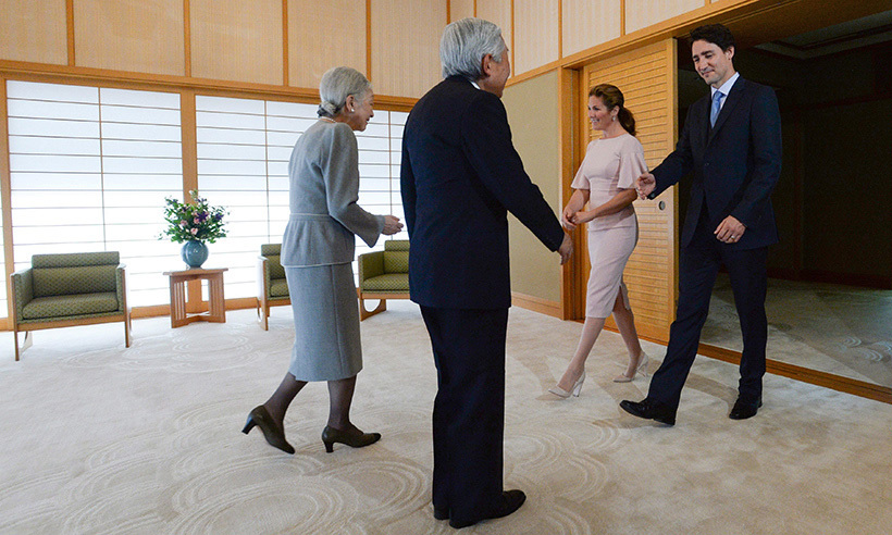 Japan's Emperor Akihito and Empress Michiko welcomed the Canadian couple to the Imperial Palace in Tokyo.