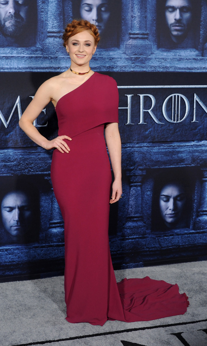 Sansa Stark would approve of the one-shoulder Stella McCartney dress and braided up-do Sophie wore to the season six premiere of <i>Game of Thrones</i>. 