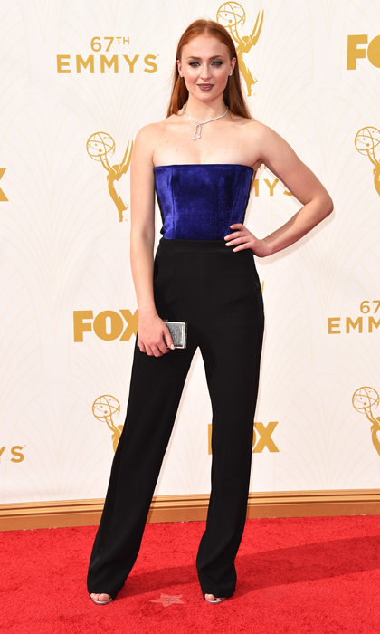 Going against the style pack, Sophie opted to wear a Galvan jumpsuit to the 2015 Emmy Awards. She accessorized her ensemble with Giuseppe Zanotti pumps, a Jimmy Choo bag and Forevermark jewels.