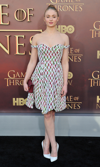 Showing off a more sophisticated look in Hussein Chalayan at the premiere of <i>Game of Thrones</i> in San Francisco.