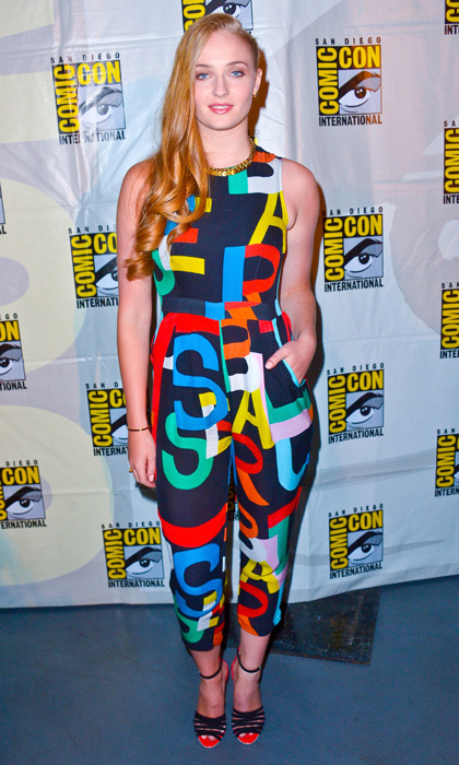 Sophie showed off her adventurous side in an eye-catching Tata Naka jumpsuit at 2014's Comic-Con Convention. 