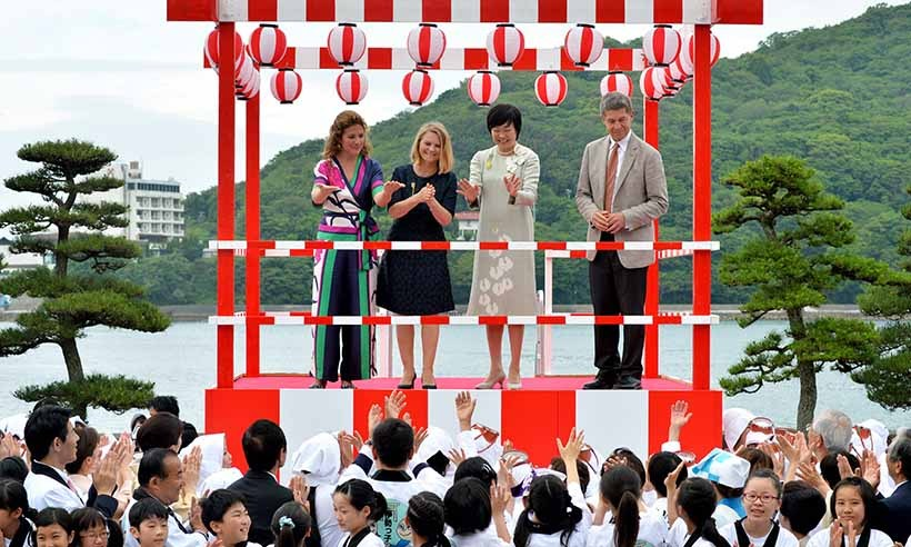 The foursome spent time at Mikimoto Pearl Island as part of the spouse program during the G7 summit. 