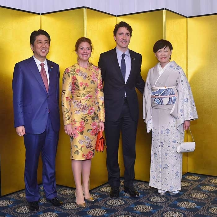 On Thursday evening, the Trudeaus joined Prime Minister Shinzo Abe and his wife Akie Abe at a cocktail party at the Shima Kanko Hotel in Kashikojima. 