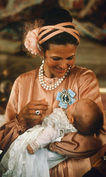 Queen Silvia's second child Prince Carl Philip was christened on Aug. 31 1979.  