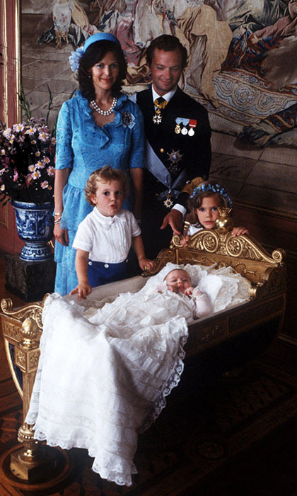 Sweden's royal family was thrilled to add Princess Madeleine to their growing family on June 10 1982. Two months later the young princess was christened at the royal palace's chapel. 