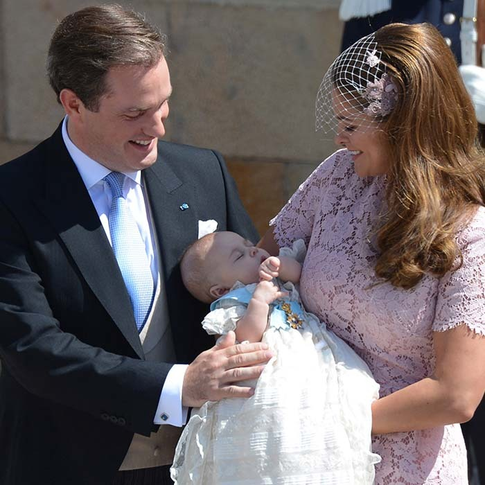 Princess Madeleine of Sweden and her husband Christopher O'Neill were all smiles at the christening of their first-born daughter Princess Leonore. The service took place at Drottningholm Palace Chapel on June 8 2014. 