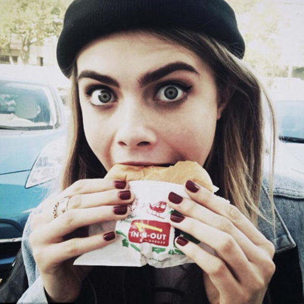 "British supermodel Cara Delevingne is just like us, popping into Hollywood's favourite fast food joint, In-N-Out Burger, whenever she's in Los Angeles. Except that when she tweeted a photo of herself indulging in her lunchtime haul, she attracted the attention of pal Rita Ora, who wanted to know, ""Was the burger nice?"" To which Cara replied, ""Was delicious."" We can only guess where Rita's next stop was after that conversation.