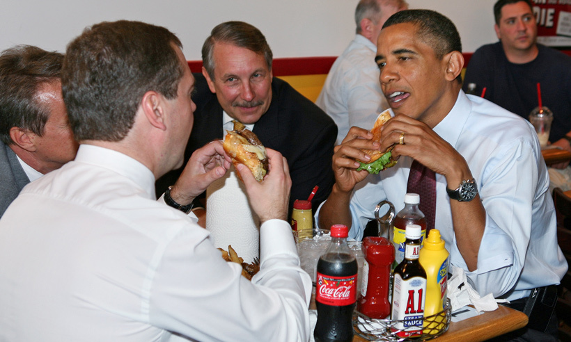 Who knew that politics are best served with fries and Coke? The president of the United States, apparently! In 2010, Barack Obama chowed down on a cheeseburger with then-Russian President Dmitry Medvedev at Ray's Hell Burger in Arlington, Va., near the White House.