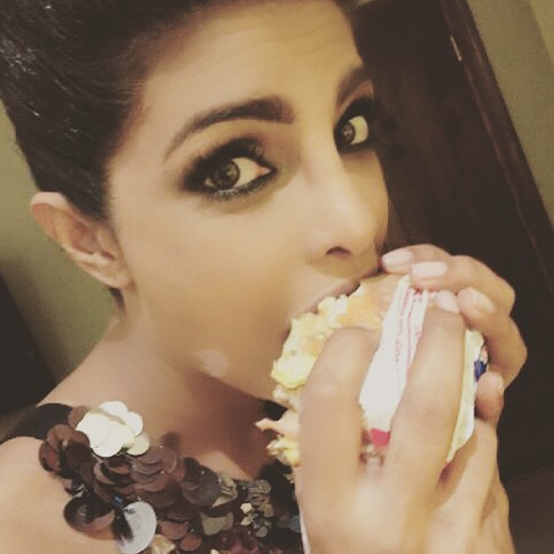"As if she wasn't already impossibly flawless, Priyanka Chopra gets ready for award shows in the best way possible: by hitting up a fast food joint. ""Red carpet prep,"" she captioned an Instagram photo she posted en route to the 2016 People's Choice Awards. 