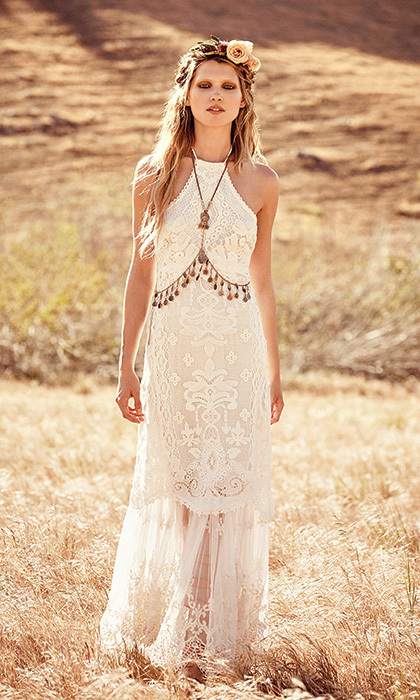 Casablanca Lace Halter Gown, $1,580, freepeople.com