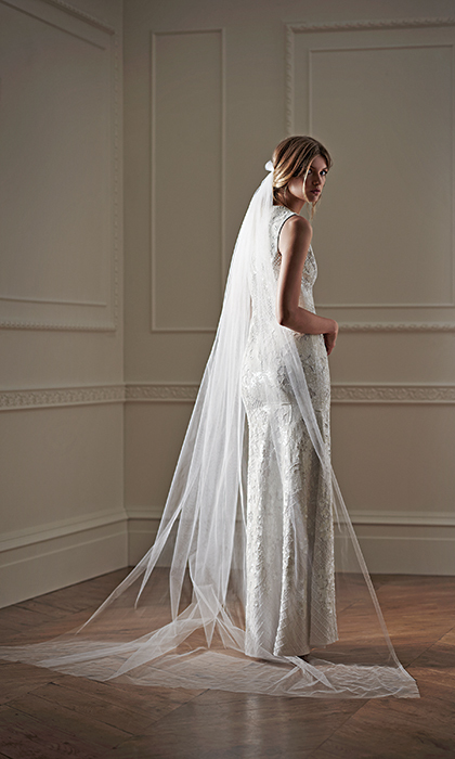 Lace Dress, $1,670 and Veil, $205, needleandthread.com