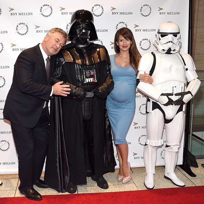 Alec Baldwin and his expectant wife Hilaria shared a special moment with Darth Vader and a Stormtrooper at the New York Philharmonic's Spring Gala. 