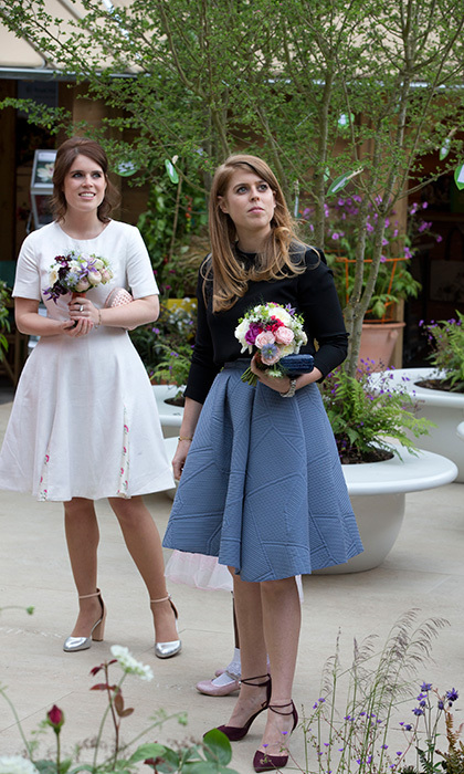 Princesses Beatrice and Eugenie at the Chelsea Flower Show.