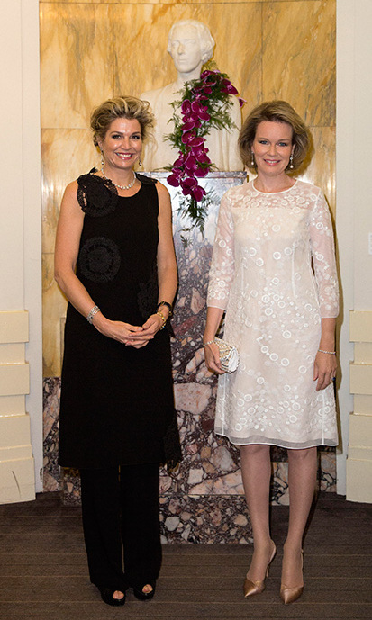 Queen Maxima of the Netherlands and Queen Mathilde of Belgium.