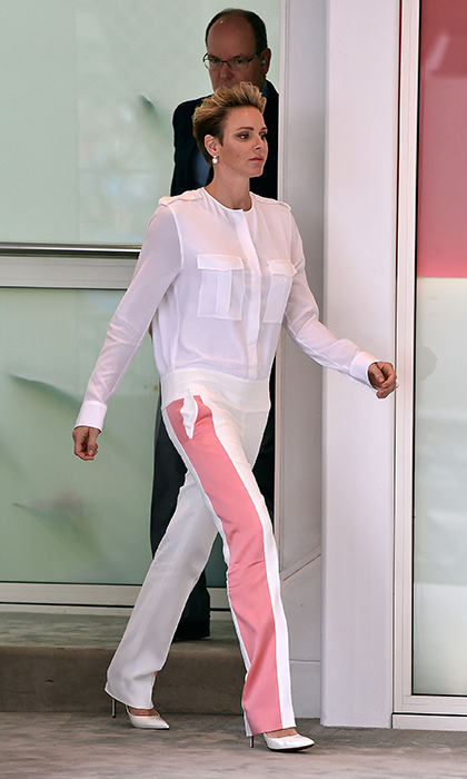 Charlene rocked a racing-inspired jumpsuit. 