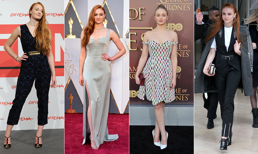 "Since debuting as Sansa Stark in the hit period drama <i>Game of Thrones</i>, Sophie Turner has quickly become one of Hollywood's most fashionable ""It"" girls. From dainty and delicate gowns to more mature looks like the black laser cut-out Balmain creation she wore to the <i>X-Men: Apocalypse</i> premiere in London, Sophie consistently surprises us with her red carpet wardrobe. 