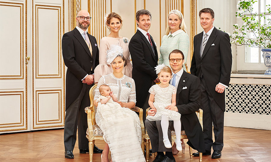 Victoria and Daniel chose Princess Madeleine, Crown Princess Mette-Marit of Norway, Crown Prince Frederik of Denmark, and Swedish friends Hans Astrom and Oscar Magnuson to be godparents to the little boy.