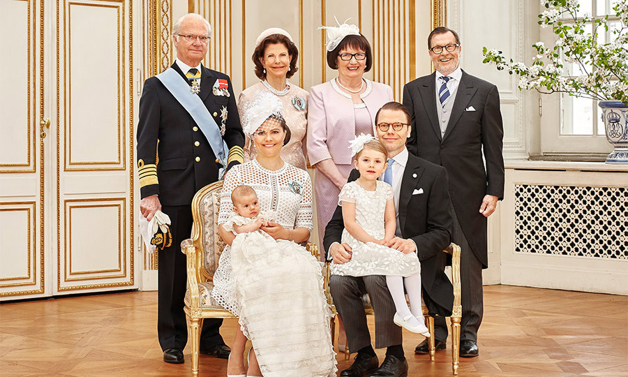 The whole family together. Oscar's full set of grandparents beamed broadly as they posed for a photo with the little Prince.