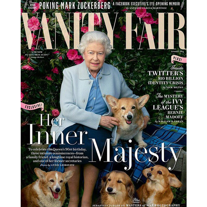 A never-before-seen portrait of the Queen and her beloved corgis appears on the summer 2016 issue of <i>Vanity Fair</i>. The image is part of a series shot by the magazine's contributing photographer Annie Leibovitz in celebration of the monarch's 90th birthday earlier this year. 