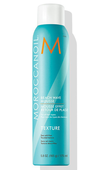 "<b>Moroccan Oil Beach Wave Mousse</b>, $30, <a href=""http://www.moroccanoil.com"" target=""_blank"">moroccanoil.com</a>"