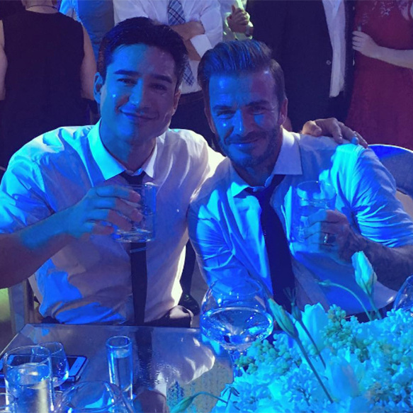 Mario and David Beckham together at the wedding celebrations.