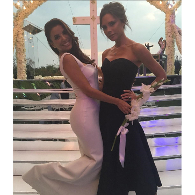 Eva's beautiful bridal gown was designed by friend Victoria.