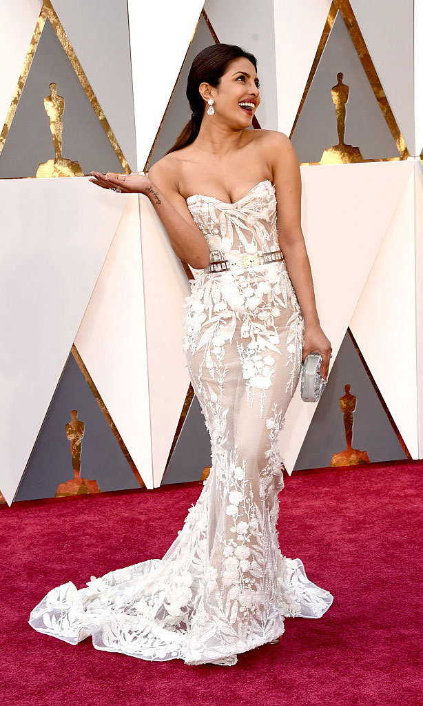 Priyanka Chopra nailed her Oscars debut in a sheer, strapless Zuhair Murad gown.