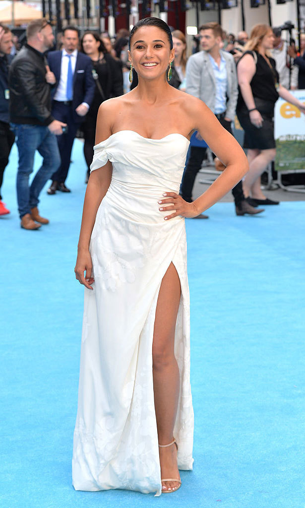 Emmanuelle Chriqui's Vivienne Westwood gown, which she wore to the 2015 European Premiere of <em>Entourage</em>, is a great option for the daring bride with its thigh-high split and one-shoulder strap.