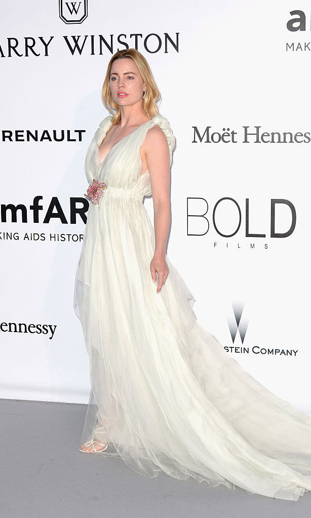 Actress Melissa George was a Greek goddess wearing an ethereal Schiaparelli Haute Couture gown with a floral embellishment at the waist to the 2016 amfAR's Cinema Against AIDS Gala.