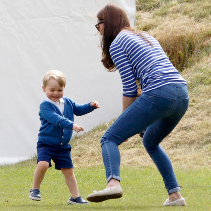 Kate may be a future Queen but that doesn't stop her from showing off her silly side on occasion, especially when it's at the request of one of her children. Here, the duchess follows George's lead at a charity polo match. 