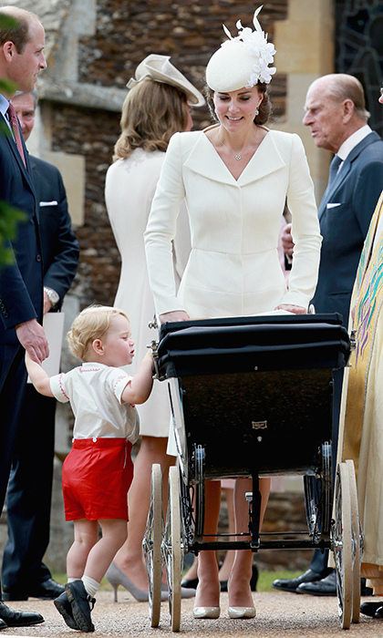 Kate showed that her natural mothering skills are only improving with practice when the family stepped out for Princess Charlotte's christening. Here the duchess proudly looks at her young daughter while keeping a watchful eye on mischievous Prince George.