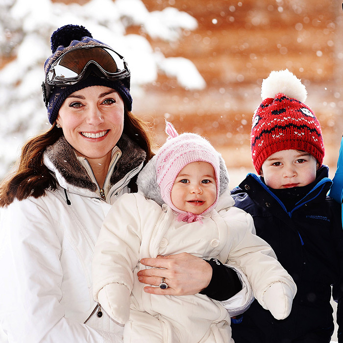 Keen athlete Kate looked delighted to be on her first skiing holiday with her kids in the French Alps. It was the first time that either George or Charlotte had seen snow. 