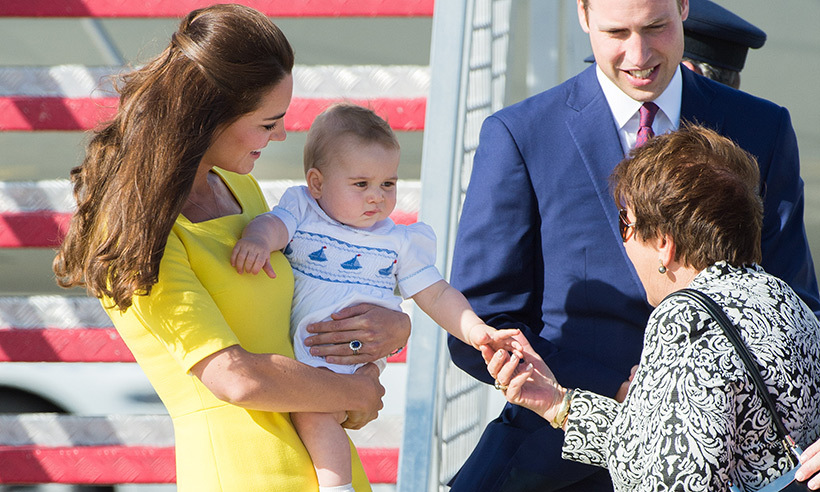 Kate showed that she's always keen to embrace her motherly duties as she encouraged her son, the future king, to shake hands with the Governor General's wife Lynne Cosgrove following their arrival in Australia.