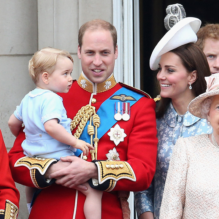 The little prince is astounded by the aircrafts flying overhead during his first appearance at Trooping the Colour. Kate shows off her obvious delight at George's astonishment while her and William's first-born sits happily in his dad's arms wearing the same outfit the duke wore when he appeared on the royal balcony during the Queen's birthday parade in 1984.