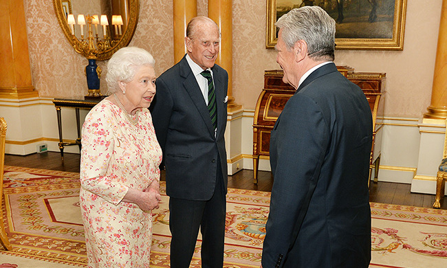 Prince Philip and the Queen welcomed the President of Germany Joachim Gauck to Buckingham Palace.