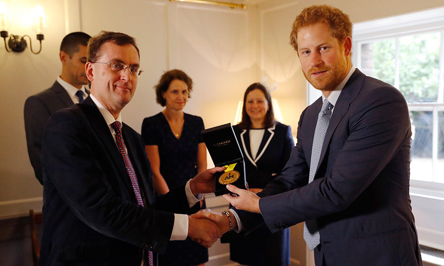 Prince Harry thanked the medical team who saved US soldier Sergeant Elizabeth Mark's life.