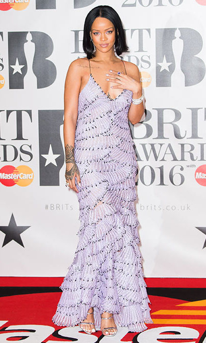 Rihanna went for lilac frills at the 2016 Brit Awards - and looked amazing, of course. 