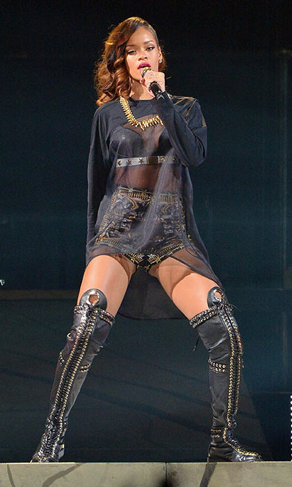 These days Rihanna's stage costumes are a lot more risqué.