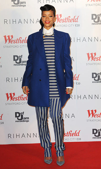 For an event in London, Rihanna's look was a nod at the nautical trend. 