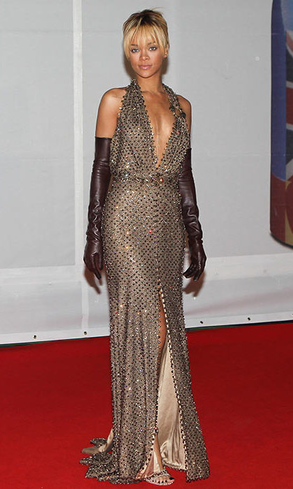 Taking a risk at the 2015 Brit Awards, Rihanna opted for a plunging champagne-coloured dress - and totally killed it. 
