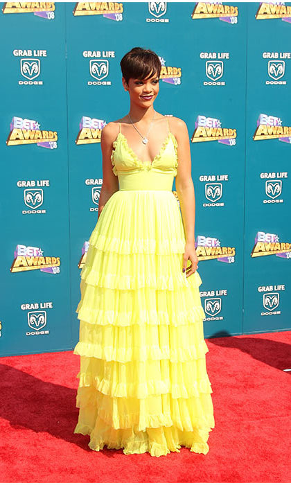 No matter the look, Rihanna can pull it off - even bright yellow frills! 