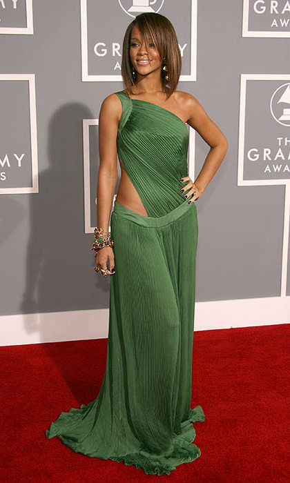 When she attended the Grammy Awards for the first time, Rihanna was already making her transition into fashion icon. 