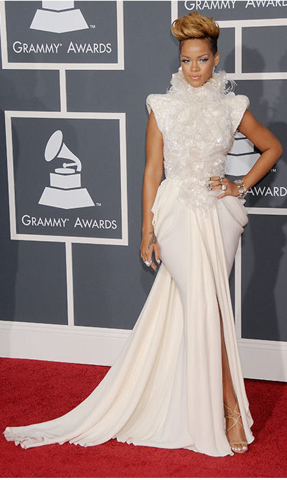 She stunned at the Grammy Awards in this incredible ivory gown. 