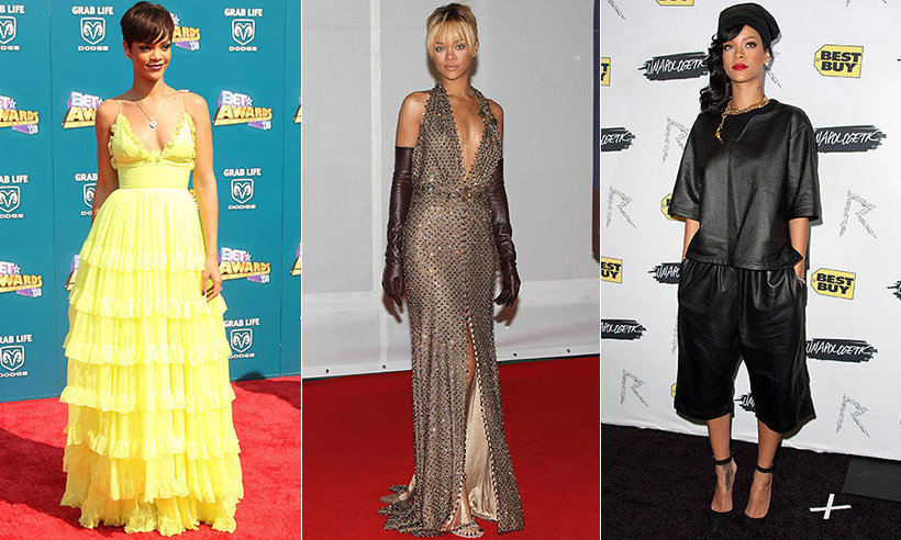 No one would deny that Rihanna is a bona fide fashion icon, from the chaps-style boots she designed with Giuseppe Zanotti to the show-stopping yellow Guo Pei ensemble she wore to the 2015 Met Gala. But it wasn't always this way! From aspiring pop star to fur-laden glamazon, see the evolution of one of music's greatest chameleons...