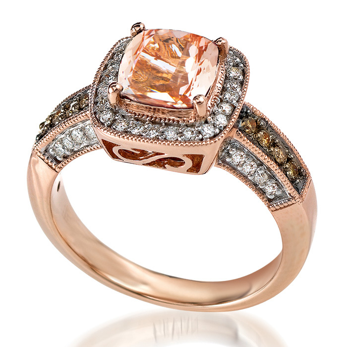 <strong>14-kt. gold and morganite ring</strong>, $2,840, Le Vian at Ernest Jones