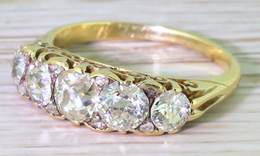 "<strong>Victorian 2-kt. Old Cut Diamond Five Stone Ring</strong>, circa 1900, $4,340, <a href=""http://gatsbyjewellery.co.uk"" target=""_blank"">gatsbyjewellery.co.uk</a>"